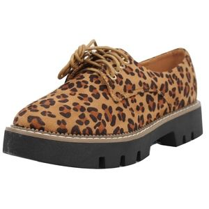 Shoes - Tan Leopard Lace Up Oxford Loafer Shoes